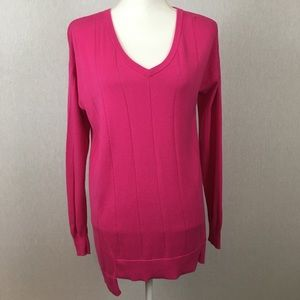 Vince Camuto Hot Pink Drop Stitch Sweater